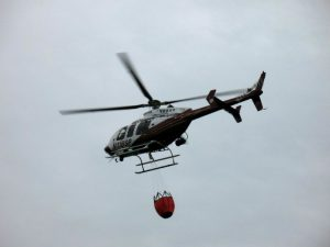 State Patrol helicopter with bucket
