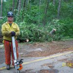 Sawyer clearing roadway, Chippewa National Forest blowdown, 2012