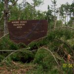 Norway Beach entrance sign, Chippewa National Forest blowdown 2012