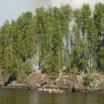 Pagami Creek firefighters canoeing to fire