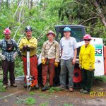 Minnesota Conservation Corps crew members clear roads and trails, Chippewa National Forest blowdown 2012