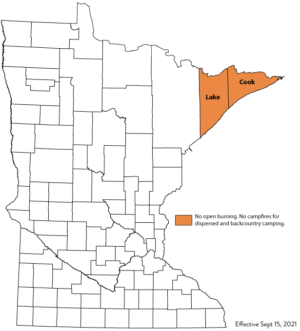 County boundary map with burning restriction filled in orange color.